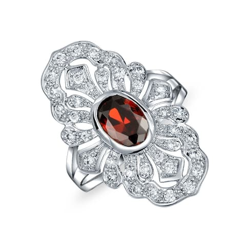 Red Imitation Ruby CZ Fashion Full Finger Armor Ring Silver Plated