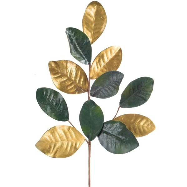 """Club Pack of 12 Gold and Green Magnolia Leaf Sprays 29"""""""