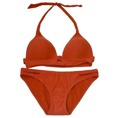 Gossip Women's Brown Solid Color Halter Tie Top 2 Pc Bikini Swimsuit
