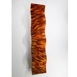Statements2000 Orange / Gold Abstract Metal Wall Art Accent Wave by Jon Allen - Amber Vortex Wave