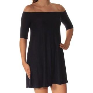 Womens Navy Short Sleeve Mini Shift Dress Size: S