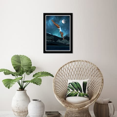 Wynwood Studio 'Going for a Dive' Fashion and Glam Wall Art Framed Print Swimsuit - Blue, Black