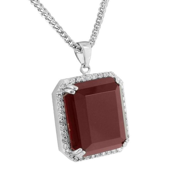 Mens Red Ruby CZ Pendant 18K Rhodium Plated Free Stainless Steel Franco Chain