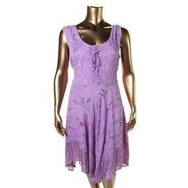 Sakkas Womens Plus Floral Print Lace-Up Casual Dress - 1X/2X