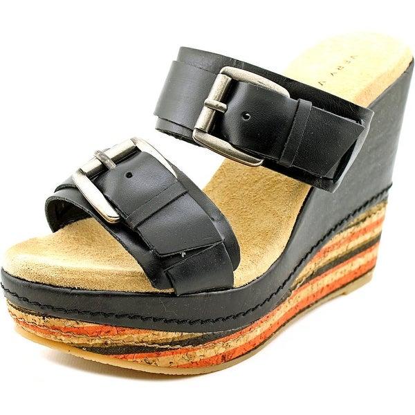 Very Volatile Sandhill Women Open Toe Leather Black Wedge Sandal