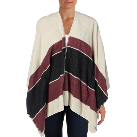 Sanctuary Womens Poncho Sweater Wool Blend Striped