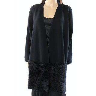 Alfani NEW Black Womens Size XL Faux-Fur Hem Open-Front Knit Coat