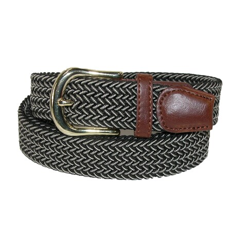 CTM® Men's Elastic Stretch Two Tone Belt with Gold Buckle