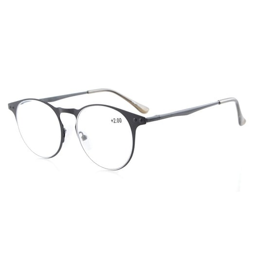 Eyekepper Readers Quality Metal Frame Spring Temples Round Reading Glasses Black +2.25