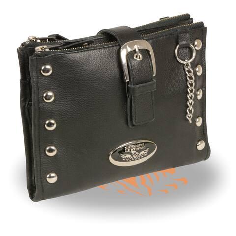 Leather Studded Wallet Shoulder Bag