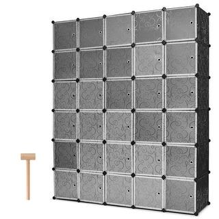 Costway DIY 30 Cube Portable Closet Storage Organizer Clothes Wardrobe Cabinet W/Doors - black, white