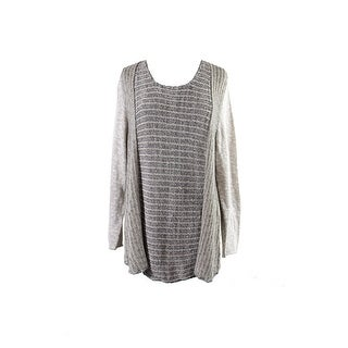 Style & Co Plus Size Beige Marled Striped Sweater X
