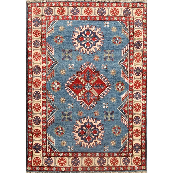 "Kazak Oriental Traditional Area Rug Wool Hand-knotted Geometric Carpet - 3'4"" x 4'4"""