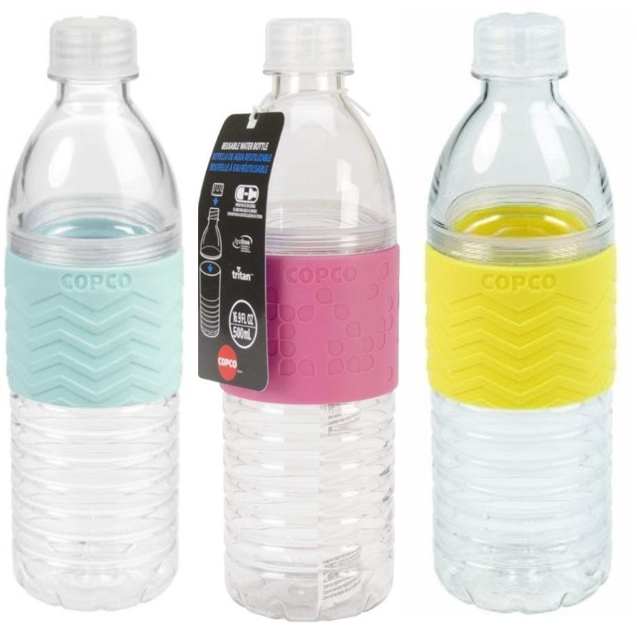 Copco Hydra Water Bottle Non Slip Sleeve BPA Free 16.9 Oz 3 Pack Robins Egg Blue