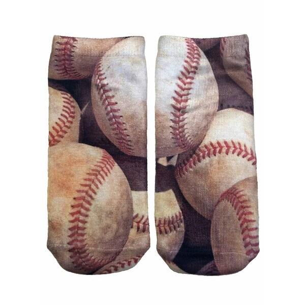 Living Royal Photo Print Ankle Socks Baseball - White
