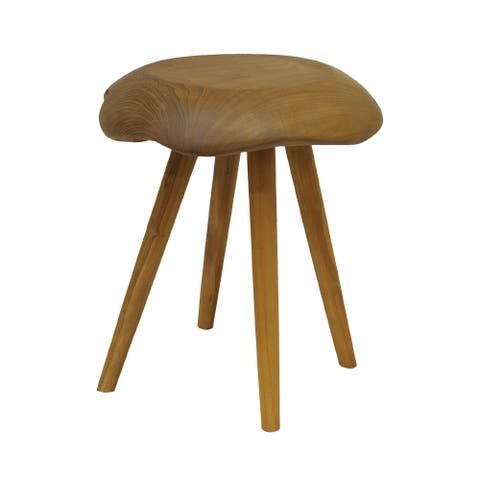 """17.5"""" Natural Brown Finish Handcrafted Wooden Palette Stool"""