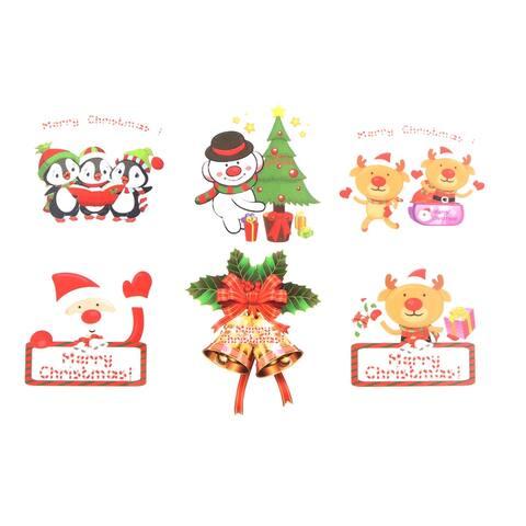 Unique Bargains Family Christmas Decor Snowman Deer Penguin Pattern Wall Sticker