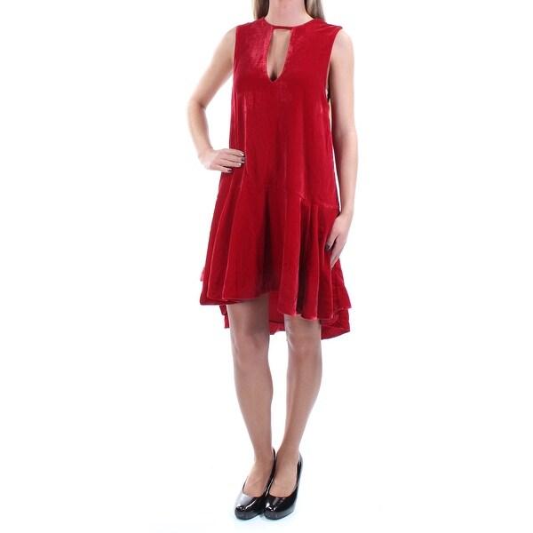a952256ec82ee FREE PEOPLE Womens Red Velvet Sleeveless Keyhole Knee Length Trapeze Dress  Size: XS