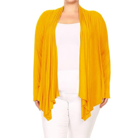 Women's Plus Size Long Sleeves Draped Solid Sweater Cardigan