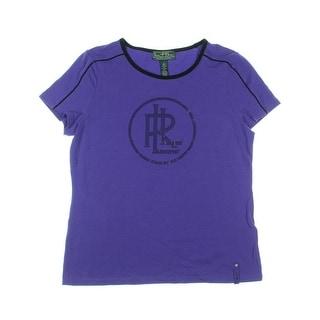 L-RL Lauren Active Womens Rhinestone Contrast Trim T-Shirt - L