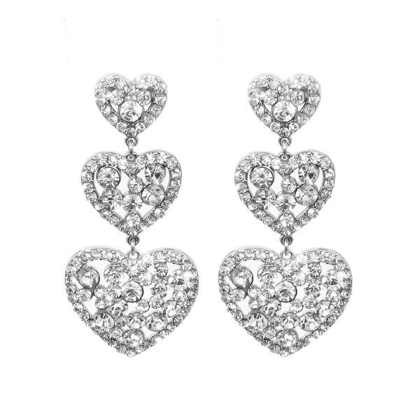 Heart Drop Earrings for Love - Silver