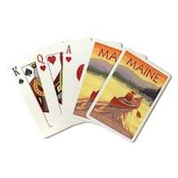 Rangeley Lakes, Maine - Canoe Scene - LP Artwork (Poker Playing Cards Deck)