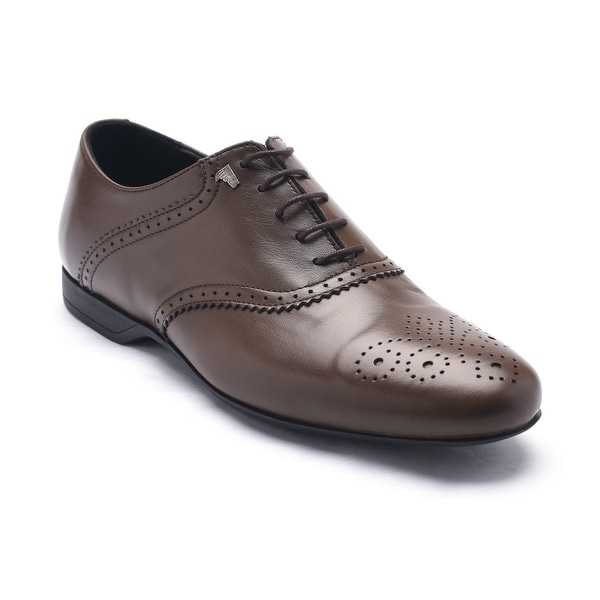 Versace Collection Men's Leather Oxford Lace-Up Dress Shoes Brown