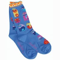 Laurel Burch Socks-Feline Festival - Blue