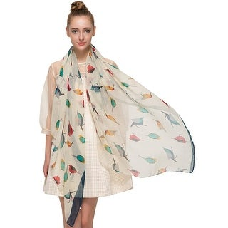 Elegant Women Bird Print Soft Long Scarf Wrap Shawl - 72 inches x 35 inches