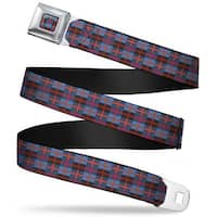 Rz Plaid Full Color Blues Brown Gray Reds Rz Plaid Blues Brown Gray Reds Seatbelt Belt