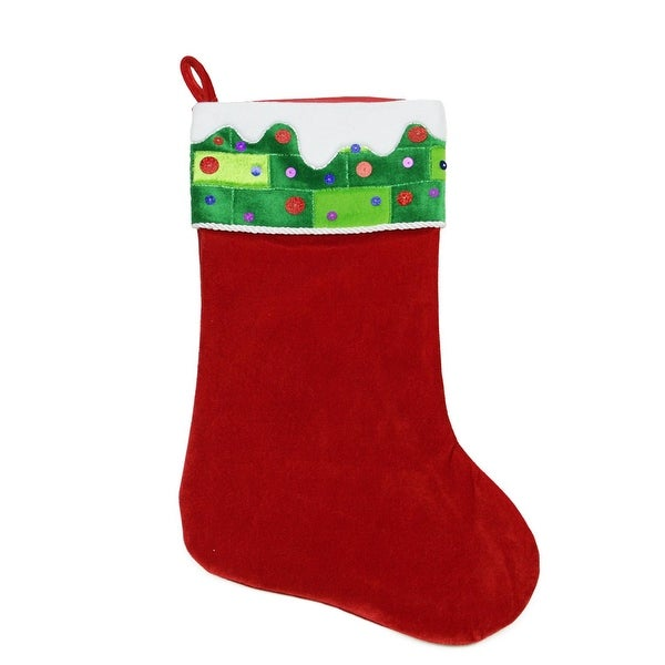 """24"""" Large Red and Green Sequined Velveteen Christmas Stocking"""