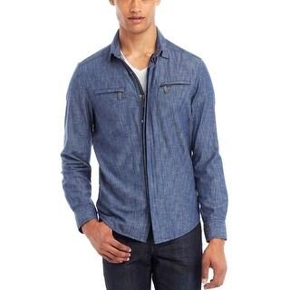 Kenneth Cole Reaction Denim Shirt Jacket Indigo Combo X-Large