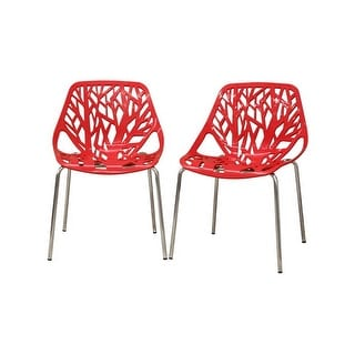 Birch Sapling Red Plastic Modern Dining Chair - 2 Chairs