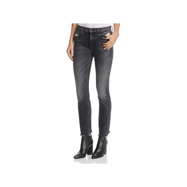 3f0251d1df7 MOTHER Superior Womens The Flirt Chew Straight Leg Jeans Mid-Rise Distressed