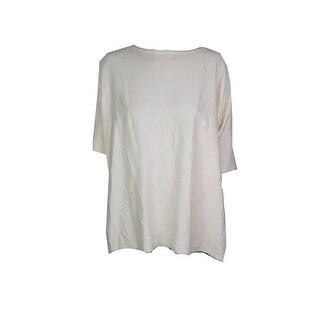 Lauren Ralph Lauren Plus Size Antique Ivory Short-Sleeve Sweater 1X