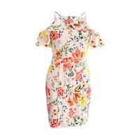 Guess Women's Floral-Print Cold-Shoulder Sheath Dress - Blush Multi