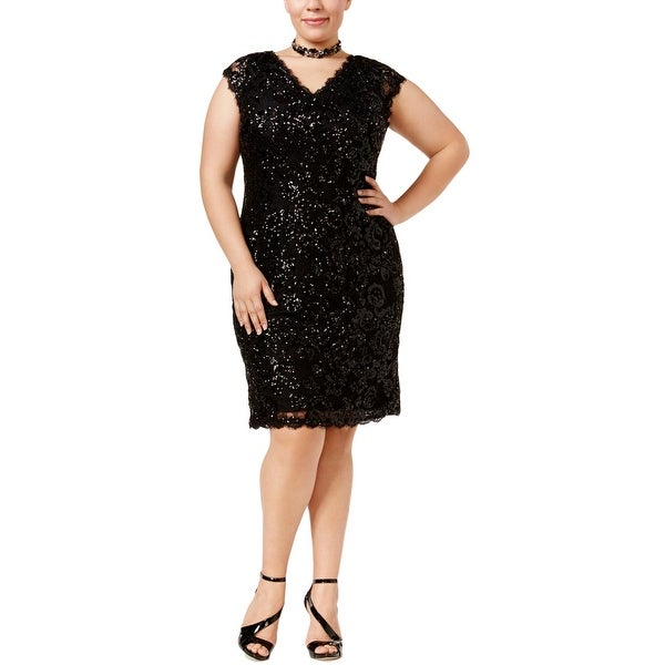 1367c296d7 Shop Betsy   Adam Womens Plus Cocktail Dress Sheath Sequined - Free  Shipping Today - Overstock - 19271573