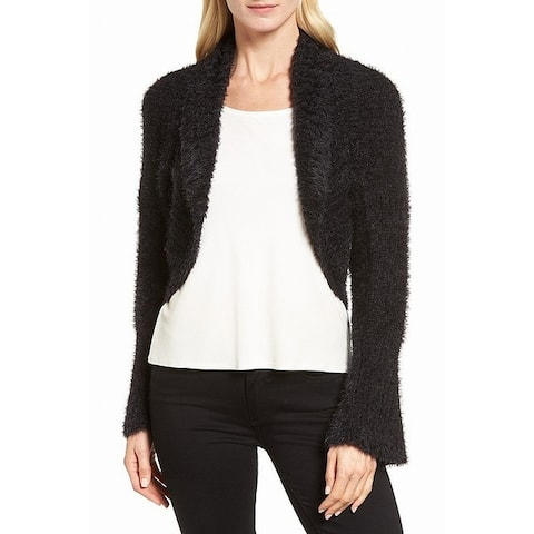 Nic + Zoe Black Womens Size Large L Open Front Cardigan Sweater