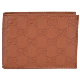 NEW Gucci 278596 Men's Saffron Tan Leather GG Guccissima Bifold Wallet