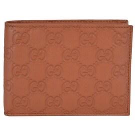 Gucci 278596 Men's Saffron Tan Leather GG Guccissima Bifold Wallet