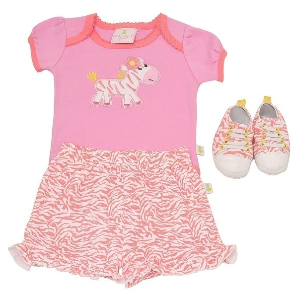 Duck Duck Goose Baby Girls Pink Zebra Bodysuit Sneakers Skirt 3 Pc Outfit