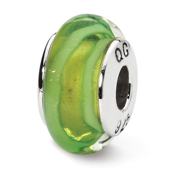 Sterling Silver Reflections Lt. Green Hand-blown Glass Bead (4mm Diameter Hole)