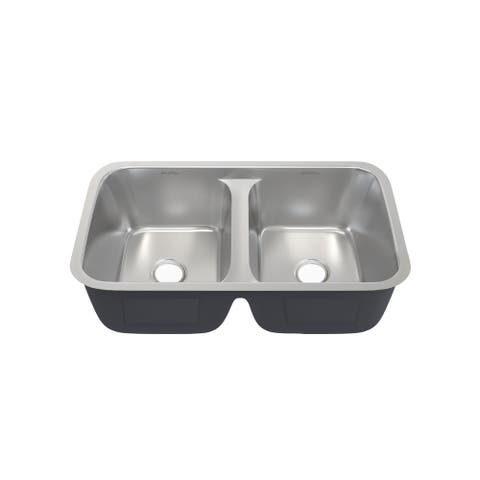 Toulouse 32 x 19 Low Divide Stainless Steel, Dual Basin, Under-Mount Kitchen Sink - 32 x 19