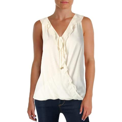 Ella Moss Womens Nikkita Casual Top Tie Up Pleated