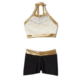 Elliewear Little Girls Cream Gold Trim Lace Overlay Top Brief 2 Pc Dance Set