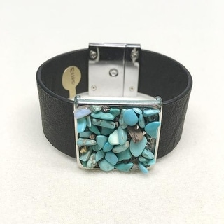Potissi Turquoise Semi Precious Stone Chips Wide Genuine Leather Bracelet
