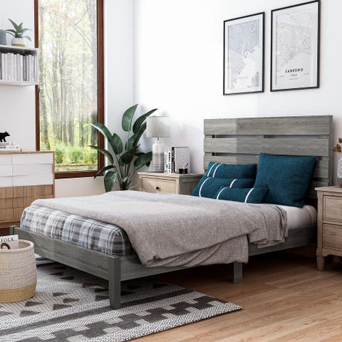Furniture of America Lucia Rustic Distressed Grey Finish Wood Platform Bed