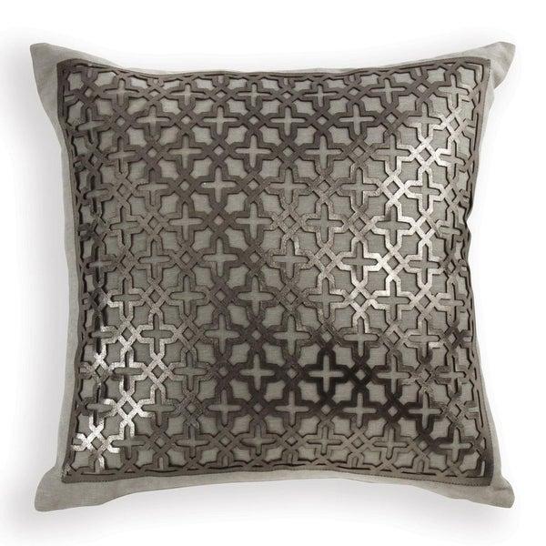 "18"" Silver Laser Cut Geometric Pattern Square Decorative Throw Pillow"