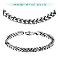 Stainless Steel Square Chain Cross Links Bracelet & Necklace Combo Set (7 mm)