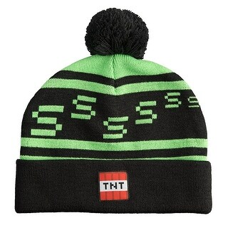 Minecraft Creeper TNT Knit Pom Beanie - Black